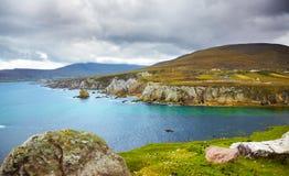 Coast of Achill Island. Overcast landscape of the coast at Achill Island, county Mayo, Ireland Royalty Free Stock Images
