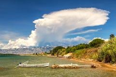 Coast of the Adriatic Sea at The Privlaka village. royalty free stock image