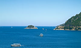Coast of the Aegean sea. Seascape, view of the beach from the board ships stock photo