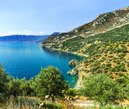 Coast of the Aegean Sea, Peloponnese. Near Leonidio. View of Plaka and Lakkos royalty free stock photography