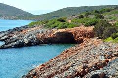 Coast of the Aegean Sea. Coast in the summer Aegean Sea, Greece, Crete Stock Photo