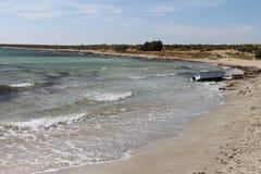 The coast of the Aegean Sea in Turkey, water, sand, beach Stock Photography