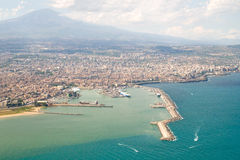 Coast from the Air. Sicilian coast with beaches from the air, Italy royalty free stock photography