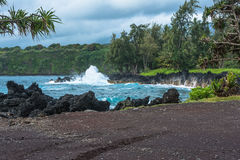 The coast along the Road to Hana in Maui, Hawaii Royalty Free Stock Photos