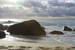 Coast of Anse Lazio, Praslin island in evening light Royalty Free Stock Photos