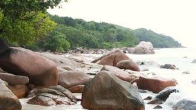 Coast of Anse Lazio, Praslin island, Seychelles. Green coast of Anse Lazio, Praslin island, Seychelles stock footage