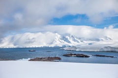Coast of Antarctica with centuries-old thicknesses off glaciers Stock Photos