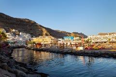 Coast with architecture in Puerto de Mogan, Little Venice in Gran Canaria stock photo