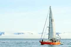Vessel of the Arctic expedition in the waters of the Arctic Ocean. Coast of the Arctic Ocean, Russia - December 14, 2016: Vessel of the Arctic expedition in the royalty free stock photography