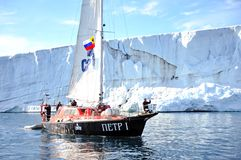 Vessel of the Arctic expedition in the waters of the Arctic Ocean. Coast of the Arctic Ocean, Russia - December 14, 2016: Vessel of the Arctic expedition in the stock photos