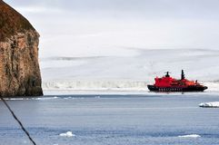 Vessel of the Arctic expedition in the waters of the Arctic Ocean. Coast of the Arctic Ocean, Russia - December 14, 2016: Vessel of the Arctic expedition in the stock photography
