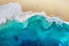 Coast as a background from top view. Turquoise water background from top view. Summer seascape from air. Nusa Penida island, Indon