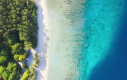 Coast as a background from top view. Turquoise water background from top view. Summer seascape from air. Gili Meno island, Indones royalty free stock photos