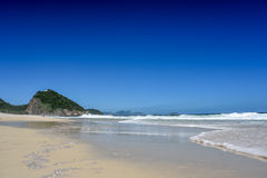 The coast of Atlantic Ocean at Leme beach with Forte Duque de Ca Stock Photos