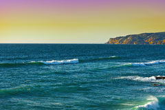 Coast of Atlantic Ocean. Rocky Coast of Atlantic Ocean in Portugal at Sunset Stock Photos