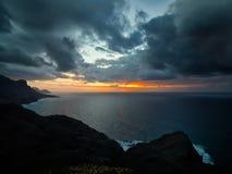 The coast of Atlantic ocean at  sunset, Gran Canaria Royalty Free Stock Photo
