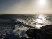 Coast of the Atlantic ocean at twilight Stock Image