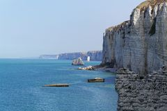 The coast at the Aval cliffs of Etretat Stock Image