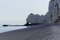The coast at the Aval cliffs of Etretat Stock Photo