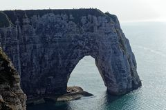 The coast at the Aval cliffs of Etretat Stock Photography