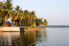 The coast of the backwaters at Kollam Stock Images