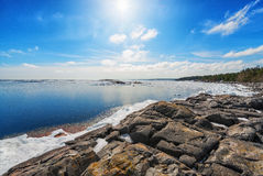 Coast of Baltic sea in early spring. Grisslehamn, Sweden Royalty Free Stock Photography