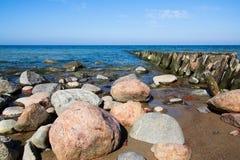 Coast of the Baltic sea near town Pioneerskij. Kaliningrad region of Russia. Baltic sea Royalty Free Stock Photos
