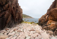 Coast of the Barents Sea big round stones Stock Images
