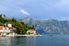 Coast Bay of Kotor in Montenegro Stock Images