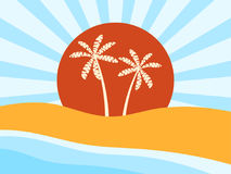Coast. Beach with palm trees. Sunrise. Vector Stock Image