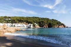 Coast and beach in Tamariu, Costa Brava, Spain Stock Photography