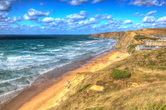 Coast and beach at Watergate Bay Cornwall England UK between Newquay and Padstow in colourful HDR Stock Photo