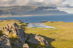 Coast of Berufjordur fjord in Djupivogur village - Royalty Free Stock Image
