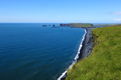 Coast and black volcanic sand, Iceland. View of south coast at Dyrholaey, Iceland Stock Images