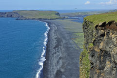Coast and black volcanic sand, Iceland. View of south coast at Dyrholaey, Iceland royalty free stock image