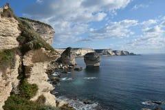 Coast of Bonifacio, Corsica, France. Panoramic view of the rock coast near Bonifacio, south side of Corsica island, France Stock Image