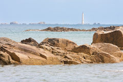 Coast of Brittany with lighthouse in France Stock Images