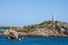 Coast of Brittany with Signpost  in France Royalty Free Stock Image
