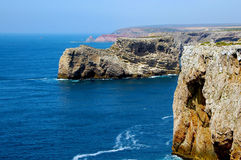 Coast Cabo de page ã o Vicente with Sagres. A fantastic view comes up at the back of beyond. Below roars to the wild Atlantic, and it can be quite windy Stock Images