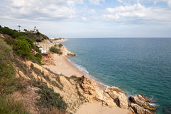 Coast at Calella city, Catalonia, Spain. Royalty Free Stock Image