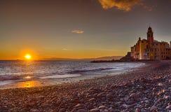 Coast of Camogli at sunset Stock Photography