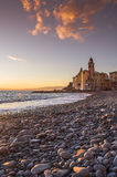 Coast of Camogli at sunset Royalty Free Stock Photos