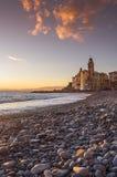 Coast of Camogli at sunset Royalty Free Stock Photos