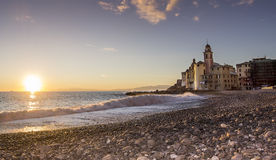 Coast of Camogli at sunset Stock Images