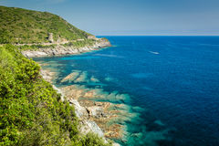 The coast of Cap Corse and Tour de L'Osse Royalty Free Stock Images