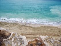 Coast of the Caspian Sea. View from above. The month of February stock images