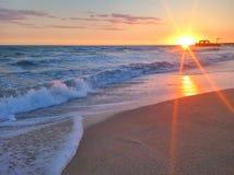 The coast of the Caspian Sea at sunrise. Nature stock image