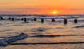 The coast of the Caspian Sea at sunset. Nature stock photo