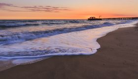 The coast of the Caspian Sea at sunset. Nature stock photos