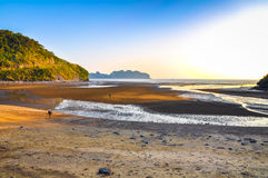 Coast of Cat Ba Island during low tide Royalty Free Stock Photography